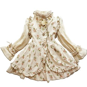 2017 Autumn Girls Clothing Suits in 2 Pieces Girl Princess Vintage Noble Dress Christmas Children Clothes Floral Costume