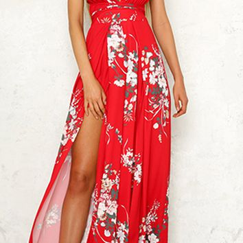 All The Stars Floral Pattern Sleeveless Spaghetti Strap Backless Plunge V Neck Split Front Jumpsuit - 2 Colors Available