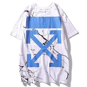 Off White Summer Fashion New Marble Pattern Print Women Men Top T-Shirt White