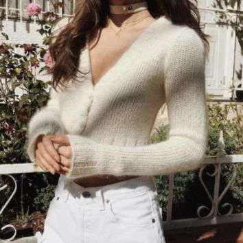 Autumn new V-neck mohair knit button-up cardigan sweater