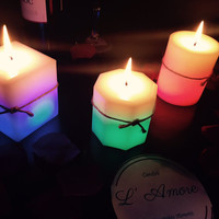 Set of 3 Color Changing Real Flame LED White Pillar Candles.
