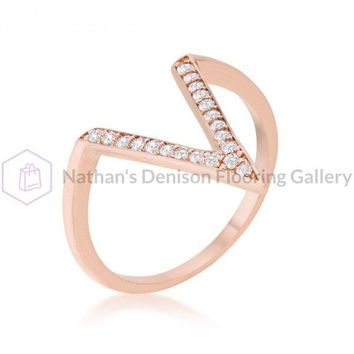 Michelle 0.2ct Cz Rose Gold Delicate V-shape Ring (size: 05) R08464A-C01-05