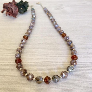 Mosaic Abalone Shell Bead Necklace Gemstone Bead Necklace Ruby Red Necklace Single Strand Glass Bead Necklace Elegant Womens Jewelry Gift