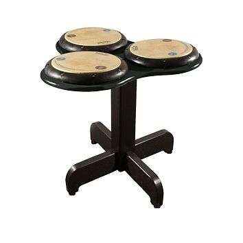 Playmore Design TriPPPle Play Drum Table 24-Inch On Casters - Green/Cedar