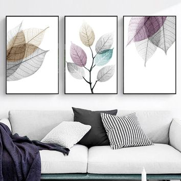 Watercolor Abstract Leaves Canvas Paintings Print  Nordic Minimalist Poster Wall Art Pictures for Living Room Bedroom Home Decor