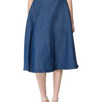 Blue Denim A-Line Pleated Midi Skirt