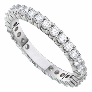 14kt White Gold Womens Round Pave-set Diamond Eternity Wedding Anniversary Band 1.00 Cttw