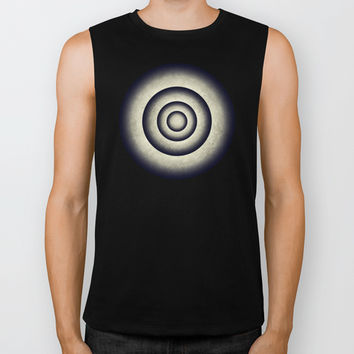 Abstract grunge gray blue 3D metal rings tunnel Biker Tank by Natalia Bykova