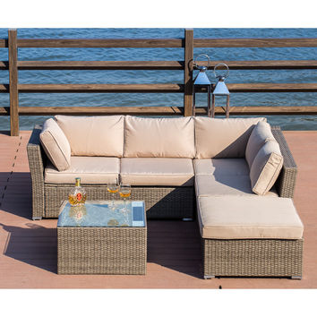 Kelly Solar Power Light Up Luxury 4 Piece Sofa Seating Group with Cushion | Joss & Main