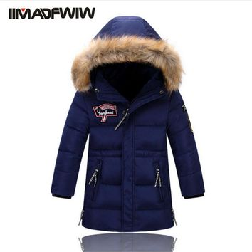 2016 New Boys Winter Long Down Jackets Outerwear Coats Fashion Big Fur Collar Thick Warm White Duck Down For 4-11T Children