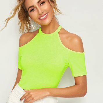 Neon Lime Cold Shoulder Form Fitting Tee