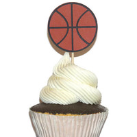Basketball cupcake toppers, sports theme party decorations, 12 pack