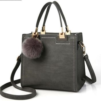 Large Shoulder Messenger- High Quality PU Leather Handbag With Fur Ball Accessory