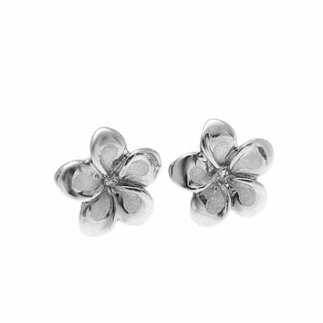 7MM SOLID 14K WHITE GOLD HAWAIIAN FANCY TROPICAL PLUMERIA FLOWER STUD EARRINGS