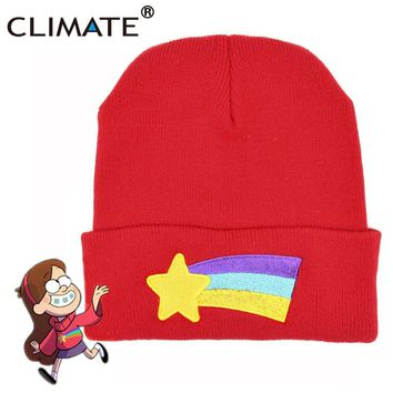 CLIMATE Girls Women Winter Warm Hat Gravity Falls Dipper Mabel Pines Red Knit Beanie Shooting Star Anmation Nice Red Acrylic Hat