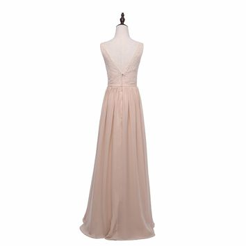 Elegant Long Country Style Lace Chiffon Bridesmaid Dresses Long Prom Dresses Wedding Party Dress