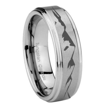 8MM Sound Wave I love you Step Edges Silver Tungsten Carbide Laser Engraved Ring