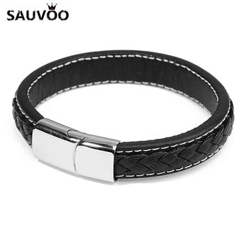 Sauvoo Fashion Black Genuine Leather Stainless Steel Magnetic Clasps Bracelets Men Male Punk Simple Jewelry Accesories Gifts