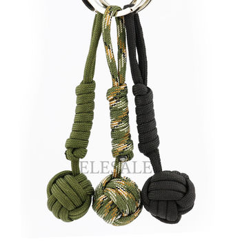 3 Color Security protection B039 Black Monkey Fist Steel Ball Bearing Self Defense Lanyard Survival Key Chain ELESALE