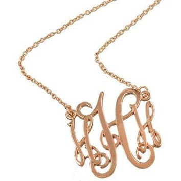*Monogram Necklace ~H~ Rosegold Finish