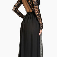 Black Backless Maxi Dress with Lace Upper