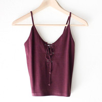 Lace Up Crop Top - Burgundy