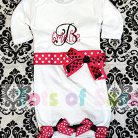 Newborn Going Home Outfit- PERSONALIZED Pink and Black Baby Girl Gown