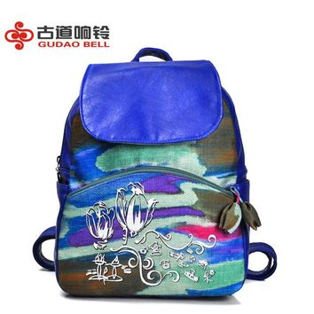 Student Backpack Children canvas PU leather backpack cute bags shoulder bag color painting students backpack drop shipping school bookbags youth teens AT_49_3