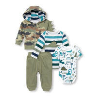 Baby Boys Dino Bodysuits, Camo Hoodie And Pants 4-Piece Playwear Set