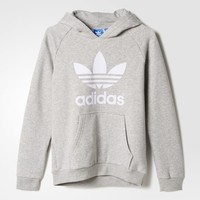 adidas Trefoil Flock Hooded Sweatshirt - Grey | adidas US