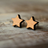 Star Stud Earrings, Laser Cut Wood