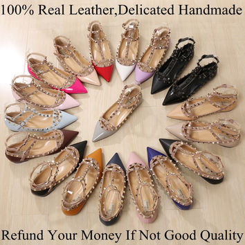 2016 Fashion Women Shoes Rivets Flats Shoes Genuine Leather Metal Ankle Strap Pointed Toe Shoes Studded Ballerinas size 33-43