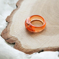 Orange Geometric Resin Ring With Copper Flakes, Anniversary Ring, Modern Materials, Epoxy Ring, Bold Ring, Stacking Resin Ring, Gift For Her