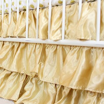 Solid 3 Tiered Ruffled Satin Crib Skirt - Fits standard cribs