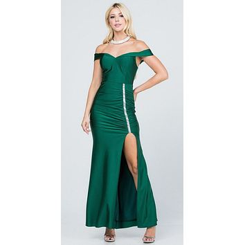 Off The Shoulder Long Mermaid Sheath Gown Hunter Green With Side Slit