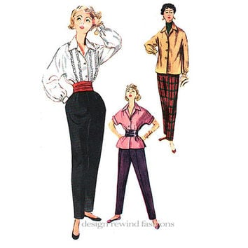SIMPLICITY 4464 TAPERED PANTS & Blouse Womens Tapered Beatnik Slacks Trousers 1950s Size 14 Bust 32 Womens Sewing Patterns