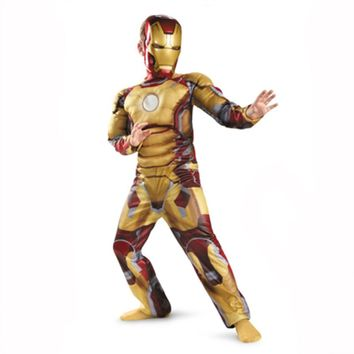 Iron Man Mark Patriot Muscle Child Kids Children's Day Halloween Costume Fantasia Avengers LED Masks Superhero Cosplay Outfit