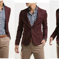 One Button Lapel Collar  Blazer/Coat