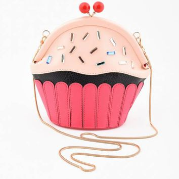 Unique Vintage Pink Frosted & Sprinkled Cupcake Purse