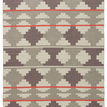 Contemporary Tribal Pattern Gray/Pink Cotton Area Rug ( 2x3)