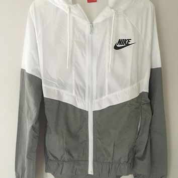 fashion nike white gray hooded zipper cardigan sweatshirt jacket coat windbreaker sportswear