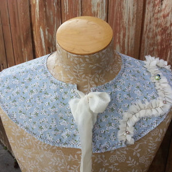 Detachable Fabric Collar in Light Blue Floral Cotton, Capelet Shrug by From the Hope Chest