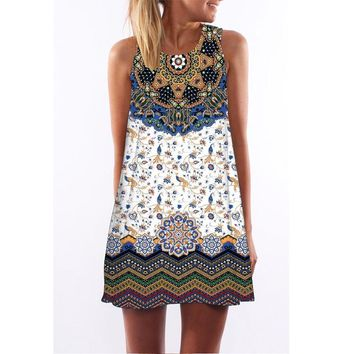 Printed round neck Amazon hot dress