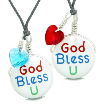 Love Couples or BFF Set Cute Ceramic God Bless You Lucky Charms Blue Red Hearts Amulet Adjustable Necklaces