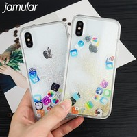 JAMULAR Cute Funny Mobile Apps Icon Pattern Phone Case Cover For iphone X 6 6s Plus 7 8 plus 10 Glitter Liquid Quicksand Cases
