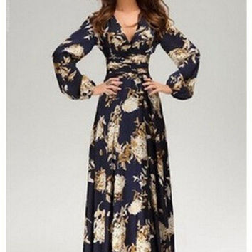 Print Half-sleeve Three-quarter Sleeve One Piece Dress [6339025409]