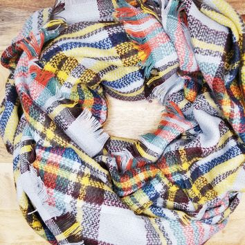 Grey/Orange/Yellow Plaid Blanket Scarf