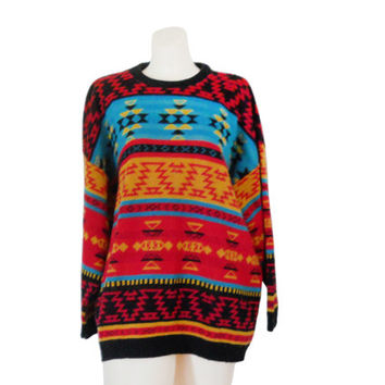Aztec Print Sweater Southwestern Sweater Southwest Sweater Tribal Print Sweater Funky Sweater 90s Sweater Jumper Slouchy Sweater Pullover