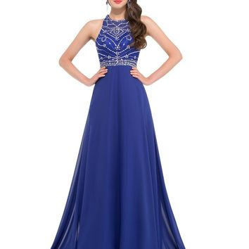 Rhinestone Evening Dresses Long Train Royal Blue Gown Women Formal Evening Gowns Crystal Beaded Prom Party Dresses GK24