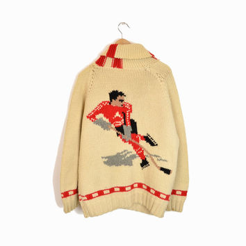 Vintage 1950s Cowichan Hockey Sweater - Red and White Team - xl